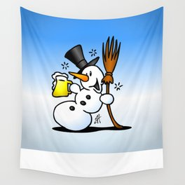 Snowman drinking a beer Wall Tapestry