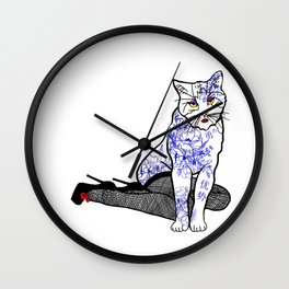 Porcelain Inked Cat Wall Clock