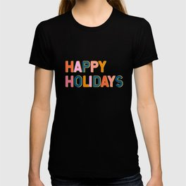 Colorful Happy Holidays Typography T-shirt