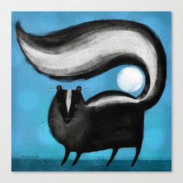 SKUNK ON BLUE Canvas Print