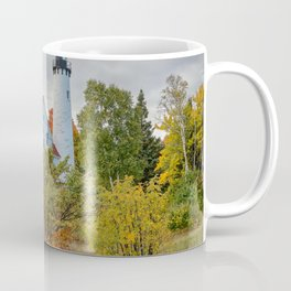 MICHIGAN LIGHTHOUSE AUTUMN UPPER PENINSULA FALL LANDSCAPE Coffee Mug