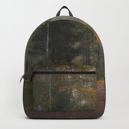 Misty autumn path Backpack