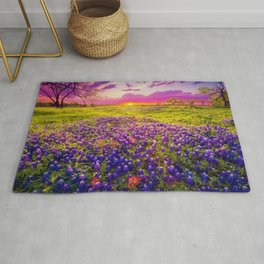 Blue Bonnet Sunset landscape painting Rug
