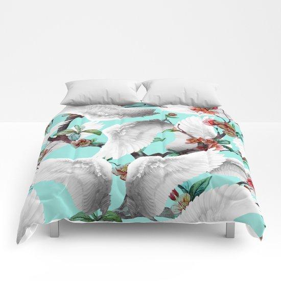 tropical wings flowers  Comforters