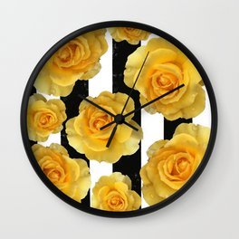 Yellow Roses on Black & White Stripes Wall Clock