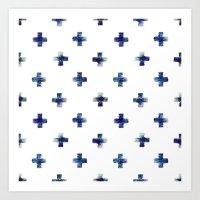 Blue Crosses Art Print