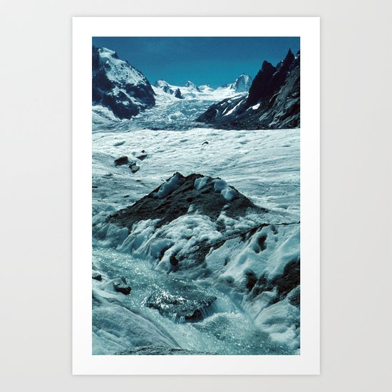 MELTING ICE #1 - Up in the Mountains Art Print