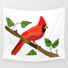 Cardinal On a Branch Wall Tapestry