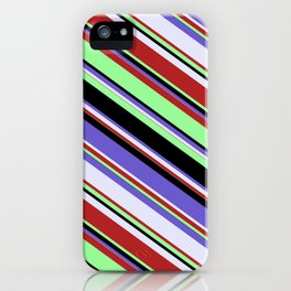 Red, Green, Black, Slate Blue & Lavender Colored Lined Pattern iPhone Case