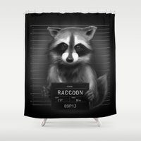 rocket raccoon Shower Curtains featuring Raccoon Mugshot by Company of Wolves