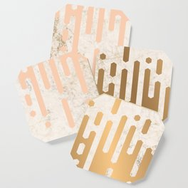 Marble and Geometric Diamond Drips, in Gold and Peach Coaster