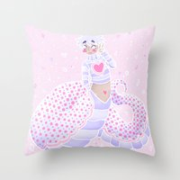 polka dot Throw Pillows featuring Polka Dot by Blue