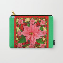 DECORATIVE SNOWFLAKES RED & PINK POINSETTIAS CHRISTMAS ART Carry-All Pouch