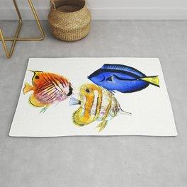 Coral Fish, tropical fish artwork, coral sea world Rug