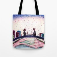 tfios Tote Bags featuring Hazel and Gus TFIOS by DaleyArts