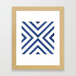 Geometrical modern navy blue watercolor abstract pattern Framed Art Print