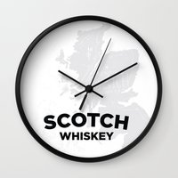 whiskey Wall Clocks featuring Scotch Whiskey by Stephen John Bryde