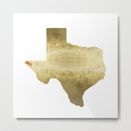 el paso hearts texas map gold foil Metal Print