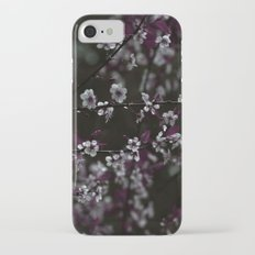 Dark Purple Leaves and White Cherry Blossoms on Black Slim Case iPhone 7