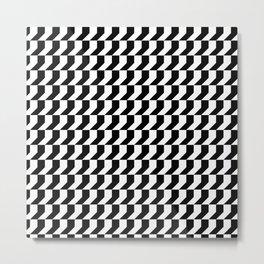 Orange: Black And White Pattern Metal Print