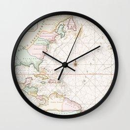 Vintage Atlantic Ocean & North America Map (1700s) Wall Clock