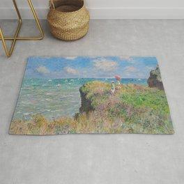 """Claude Monet """" Cliff Walk at Pourville"""" Rug"""