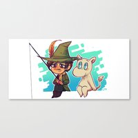 moomin Canvas Prints featuring Moomin Fishin' by lemonteaflower