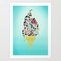 icecream Art Prints featuring icecream by StraySheep