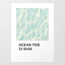 Ocean Tide Pale Blue Pantone Chip Art Print