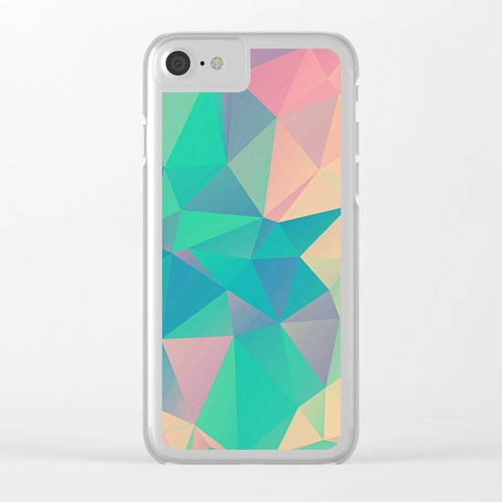 Fractured, Colorful Triangles Geometric Shapes Clear iPhone Case