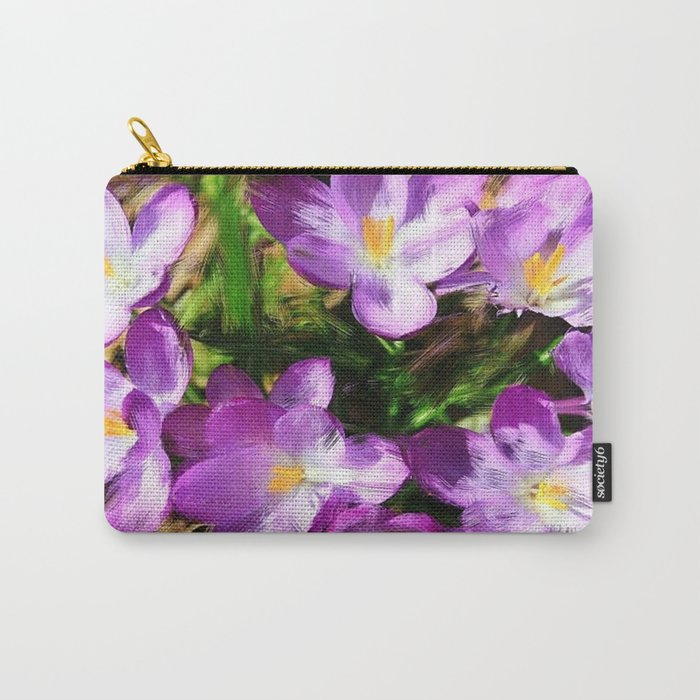 Spring In the Air - Painterly Crocuses Carry-All Pouch