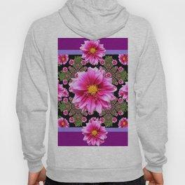 Pink Dahlia Flowers on Black-green Geometric Hoody