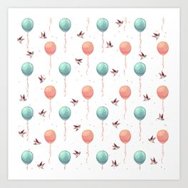 Cute teal coral brown birds balloons watercolor Art Print