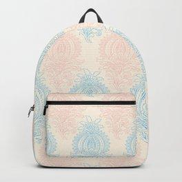 Vintage ivory coral pastel blue floral damask Backpack