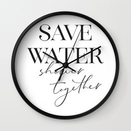 save water shower together Wall Clock