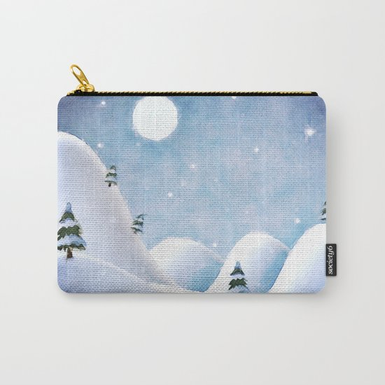 Winter Landscape Under Full Moon Carry-All Pouch