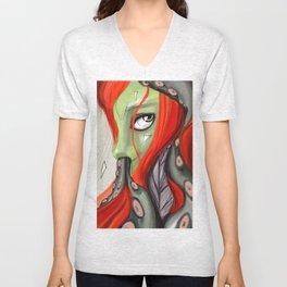 Red head, green skin Unisex V-Neck
