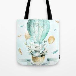 Cute Easter Bunny Hot Balloon Tote Bag