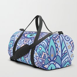 Amulet and paisley - teal azure Duffle Bag