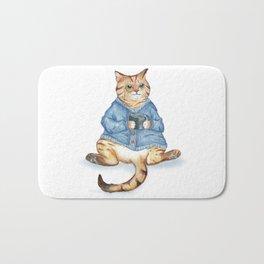 Tea time with monocle cat Bath Mat