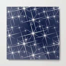 Indigo Navy Blue Starry Night Metal Print