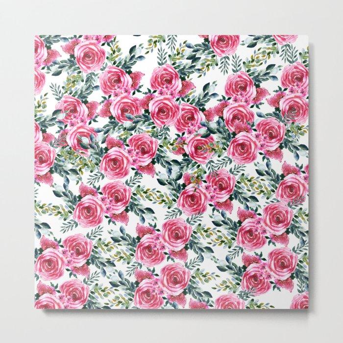 Elegant botanical pink green watercolor roses pattern Metal Print