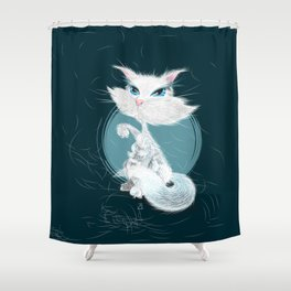 Catarday Night - white cat Shower Curtain