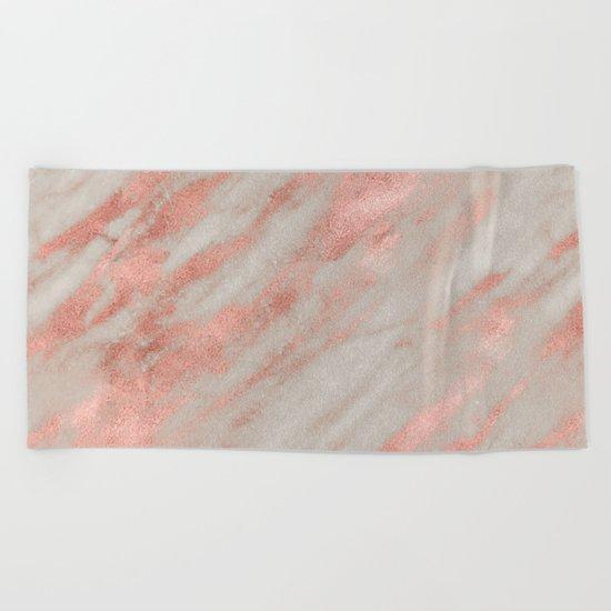 Marble Rose Gold White Marble Foil Shimmer Beach Towel