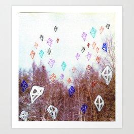 Snowing Octahedrons Art Print