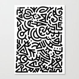 Bold Black Marker Doodle Line Canvas Print