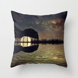 guitar island moonlight Throw Pillow