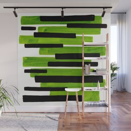 Lime Green Primitive Stripes Mid Century Modern Minimalist Watercolor Gouache Painting Colorful Stri Wall Mural