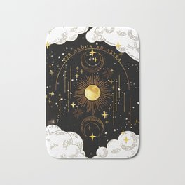 Per Ardua Ad Astra  Sun, Moon and Stars  Divine Witchy Aesthetic Print Bath Mat