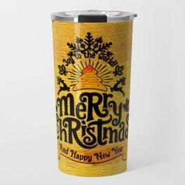 -A25- Arteresting Merry Christmas Artwork Carpet Texture. Travel Mug